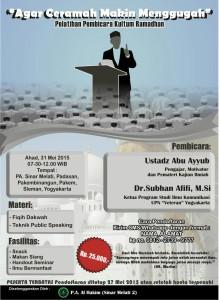 Pelatihan Ceramah Kultum Ramadhan Bersama DR. Subhan Afifi Msi dan Ustadz Abu Ayyub di Panti Asuhan Al Hakim, Sinar Melati 2 Padasan, Pakem, Sleman, Yogyakarta